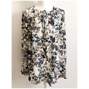 Pleione Long Sleeve Floral Blouse Size Large